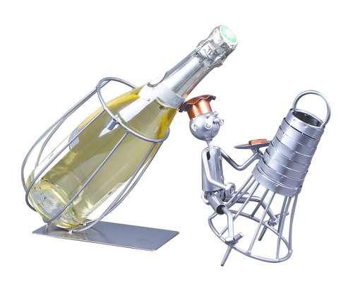 Image du produit Support bouteille Félix métal gris/cuivre - Fouet