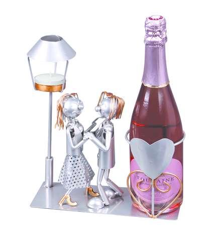 Image du produit Support bouteille Félix métal gris/cuivre - Amoureux