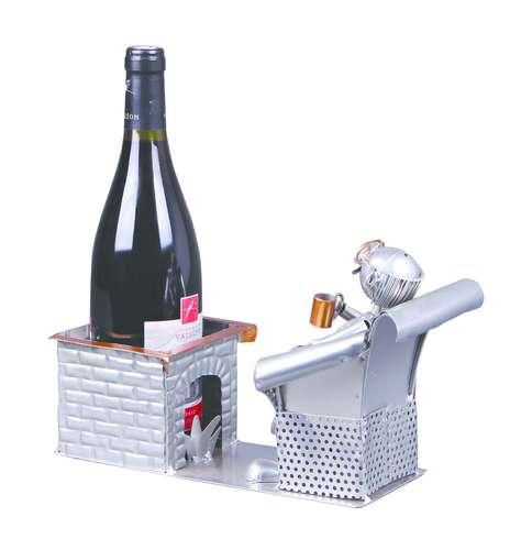 Image du produit Support bouteille Félix métal gris/cuivre - Retraité