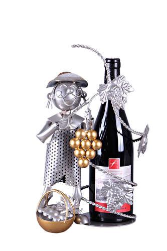 Image du produit Support bouteille Félix métal gris/cuivre - Vendangeur
