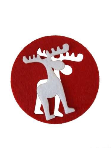 Image du produit Sous-verre Jean-Baptiste feutrine rouge/blanc diam 10x0.3cm