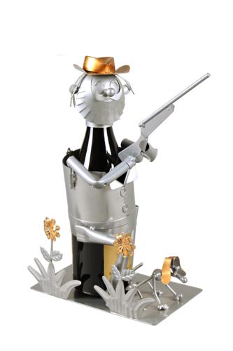Image du produit Support bouteille Félix métal gris/cuivre - Chasseur et son fusil