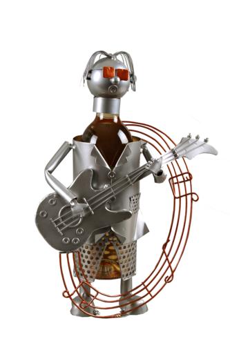 Image du produit Support bouteille Félix métal gris/cuivre - Guitariste