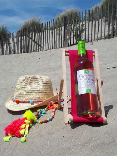Image du produit Support bouteille Valentina bois toile uni fuchsia