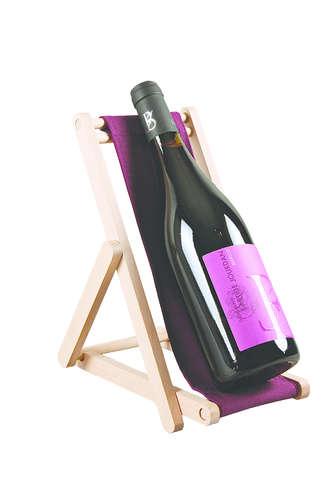 Image du produit Support bouteille Valentina bois toile uni aubergine
