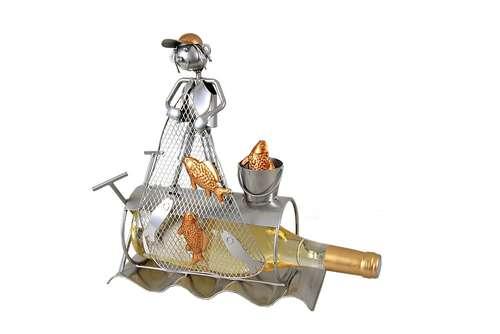 Image du produit Support bouteille Félix métal gris/cuivre - Pécheur filet