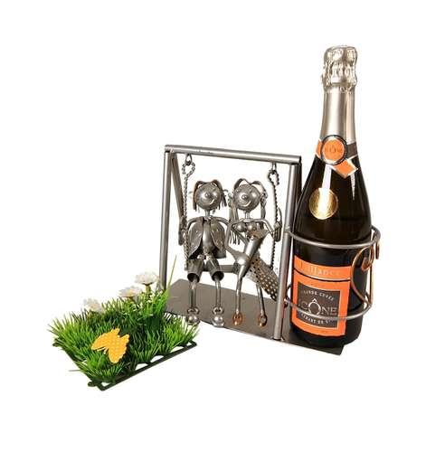 Image du produit Support bouteille Félix métal gris/cuivre - Couple balançoire