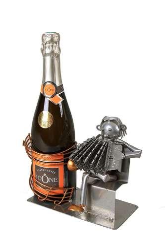 Image du produit Support bouteille Félix métal gris/cuivre - Musicien accordéon