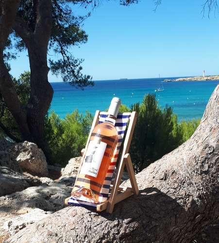 Image du produit Support bouteille Valentina bois toile rayures bleu/rouge