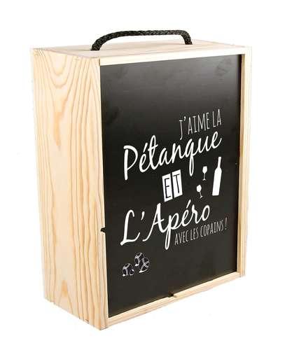 Image du produit Coffret pétanque Léon 2 bouteilles bois couvercle noir 6 pièces - J'aime la pétanque..