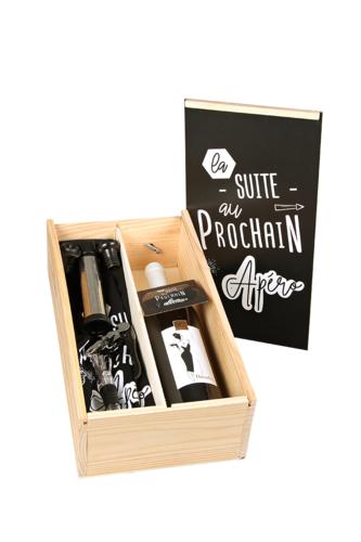 Image du produit Coffret dégustation Essentiel 1 bouteille bois couvercle noir 5 pièces - La suite au p