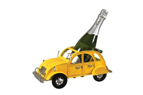 Image du produit Support bouteille Félix métal jaune - 2CV