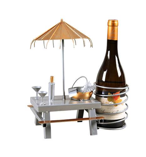Image du produit Support bouteille Félix métal gris/cuivre - Table pique-nique