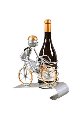 Image du produit Support bouteille Félix métal gris/cuivre - Cycliste grimpeur