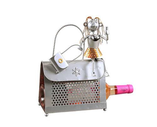 Image du produit Support bouteille Félix métal gris/cuivre - Sac a main femme