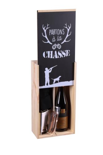 Image du produit Coffret chasse Franquin 1 bouteille bois couvercle noir 3 pièces - Partons à la chasse