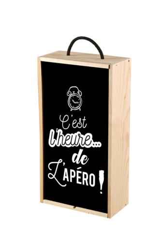 Image du produit Coffret apéro Thibaud 1 bouteille bois couvercle noir 3 pièces - C'est l'heure de l'ap