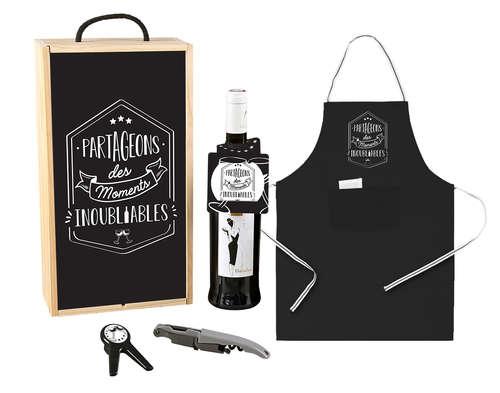 Image du produit Coffret cadeau Augustin 1 bouteille bois couvercle noir 4 pièces - Partageons des mome