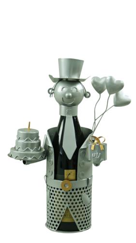 Image du produit Support bouteille Félix métal  gris/cuivre - Joyeux Anniversaire
