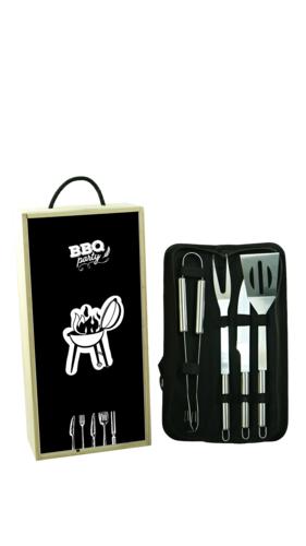 Image du produit Coffret BBQ Fernando magnum/2 bouteilles bois couvercle noir 5 pièces - BBQ Party