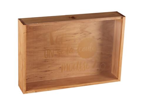 Image du produit Caisse Castel bois de pin teinté cappucino 6 bières - Ici on se la coule mousse