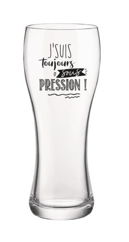 Image du produit Verre à bière Randy 40cl décoré noir - J'suis toujours sous pression