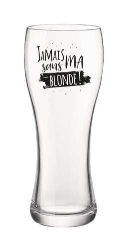 Image du produit Verre à bière Randy 40cl décoré noir - Jamais sans ma blonde