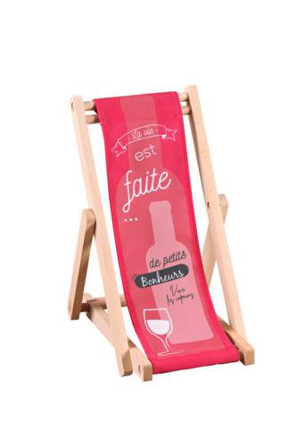 Image du produit Support bouteille Valentina bois toile - La vie est faite de petits bonheurs