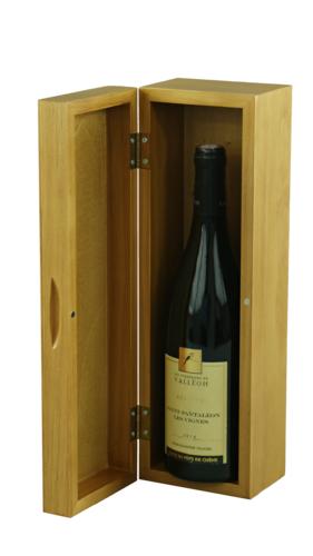 Image du produit Coffret sommelier luxe Bourgeois 1 bouteille bois teinté verni chêne doré