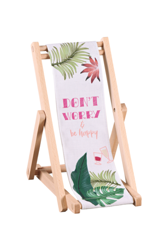 Image du produit Support bouteille Valentina bois toile - Don't worry, be happy