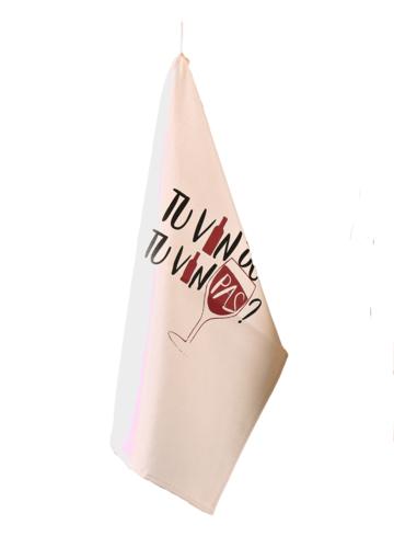 Image du produit Torchon Swan toile coton écru décoré noir/cassis 65x45cm - Tu vin ou tu vin pas
