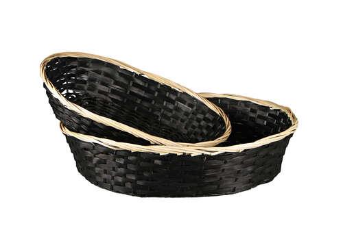 Image du produit Corbeille Clara bambou/jonc noir/naturel ovale 38x28x9cm