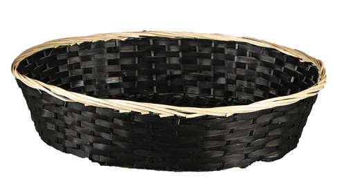 Image du produit Corbeille Clara bambou/jonc noir/naturel 45x35x10cm