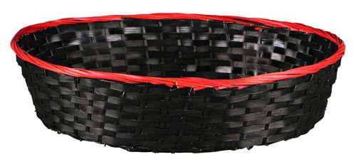 Image du produit Corbeille Clara bambou/jonc rouge/noir 45x35x10cm