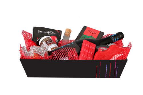 Image du produit Corbeille Los Angeles carton rigide noir rectangle 33x20x7cm