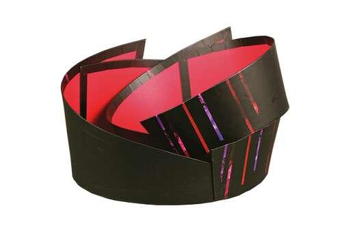 Image du produit Corbeille Los Angeles carton rigide noir ovale asymétrique 33x26x8/15cm