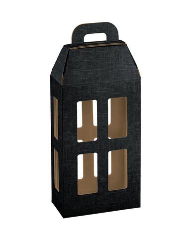 Image du produit Lanterne Milan carton aspect tissu noir 2 bouteilles
