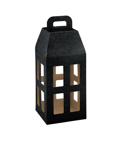 Image du produit Lanterne Milan carton aspect tissu noir 4 bouteilles