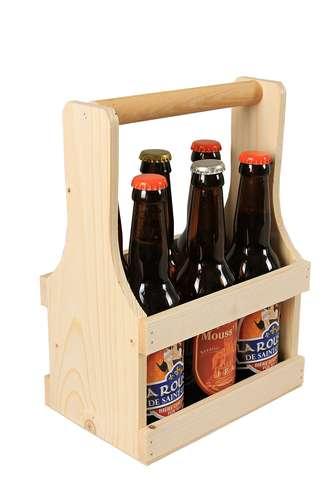 Image du produit Panier Diego bois naturel 6 bières 33cl (type long neck)