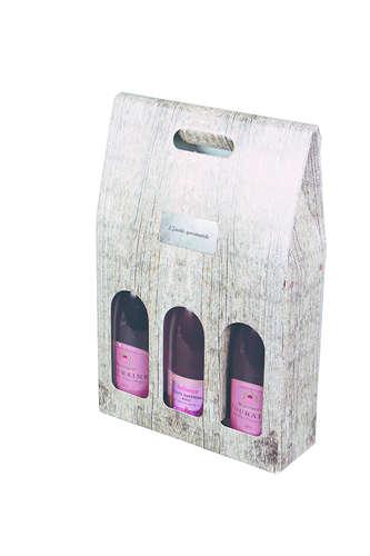 Image du produit Valisette Lorriane carton imitation bois grisé 3 bouteilles