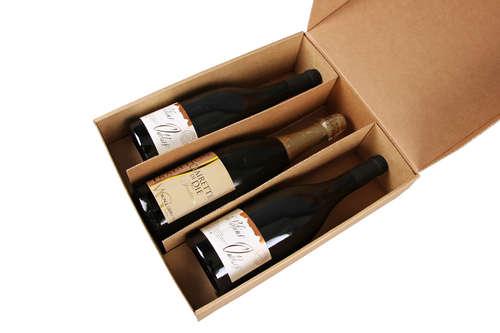 Image du produit Coffret Atlanta carton kraft lisse 3 bouteilles