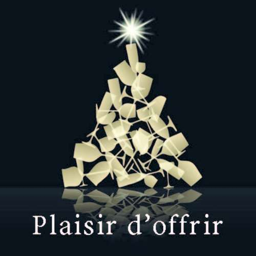 Image du produit Etiquette adhésive carrée noir/or - Plaisir d'offrir (boîte de 500)