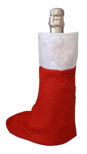 Image du produit Chaussette Noelie feutrine rouge/blanc 32x20cm