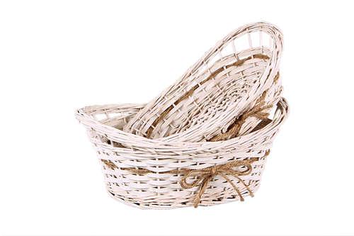 Image du produit Corbeille Bianca osier/bois blanc cassé ovale 32x22x8/10cm