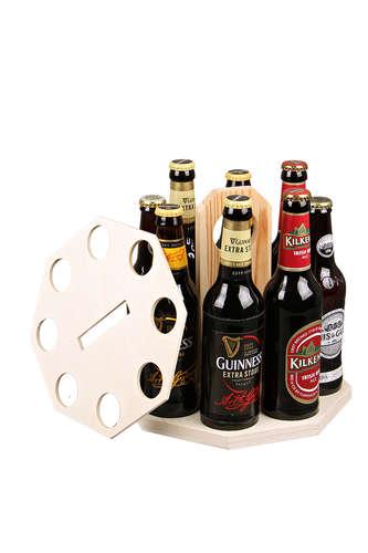 Image du produit Carrousel à bière Renzo bois naturel 8 bières 33cl (type long neck)