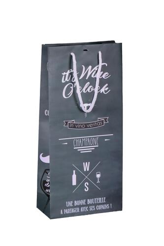 Image du produit Sac Manhattan papier pelliculé mat ardoise/craie 2 bouteilles - FSC7
