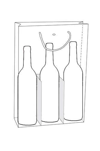 Image du produit Sac Helsinki papier pelliculé mat blanc/or/gris 3 bouteilles - FSC7