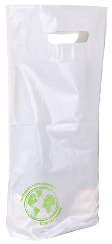 Image du produit Sac Ecolo plastique blanc/vert 2 bouteilles