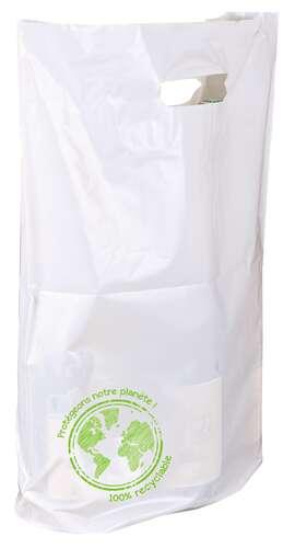 Image du produit Sac Ecolo plastique blanc/vert 3 bouteilles
