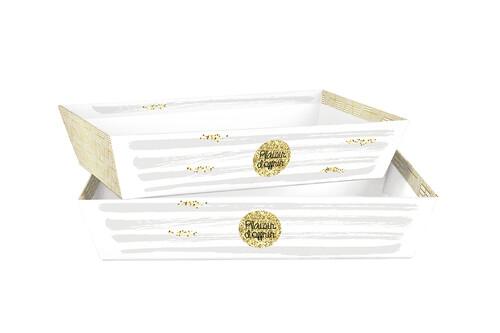 Image du produit Corbeille Helsinki carton rigide blanc/or/gris rectangle 33x20x7cm